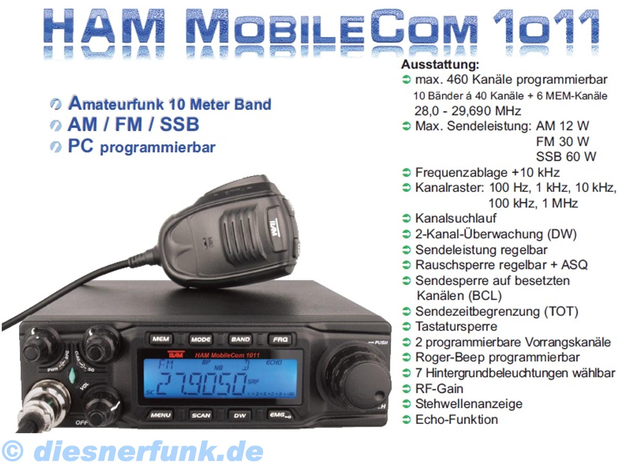 team ham mobilecom 1011 mobilfunkger t amateurfunk 10meter. Black Bedroom Furniture Sets. Home Design Ideas