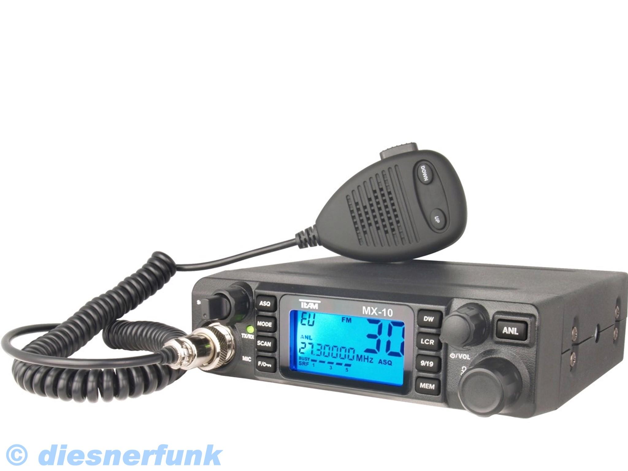 TEAM MX-10 12/24 Volt Multi CB Funkgerät 4W AMFM für LKW ACTROS TGA ...