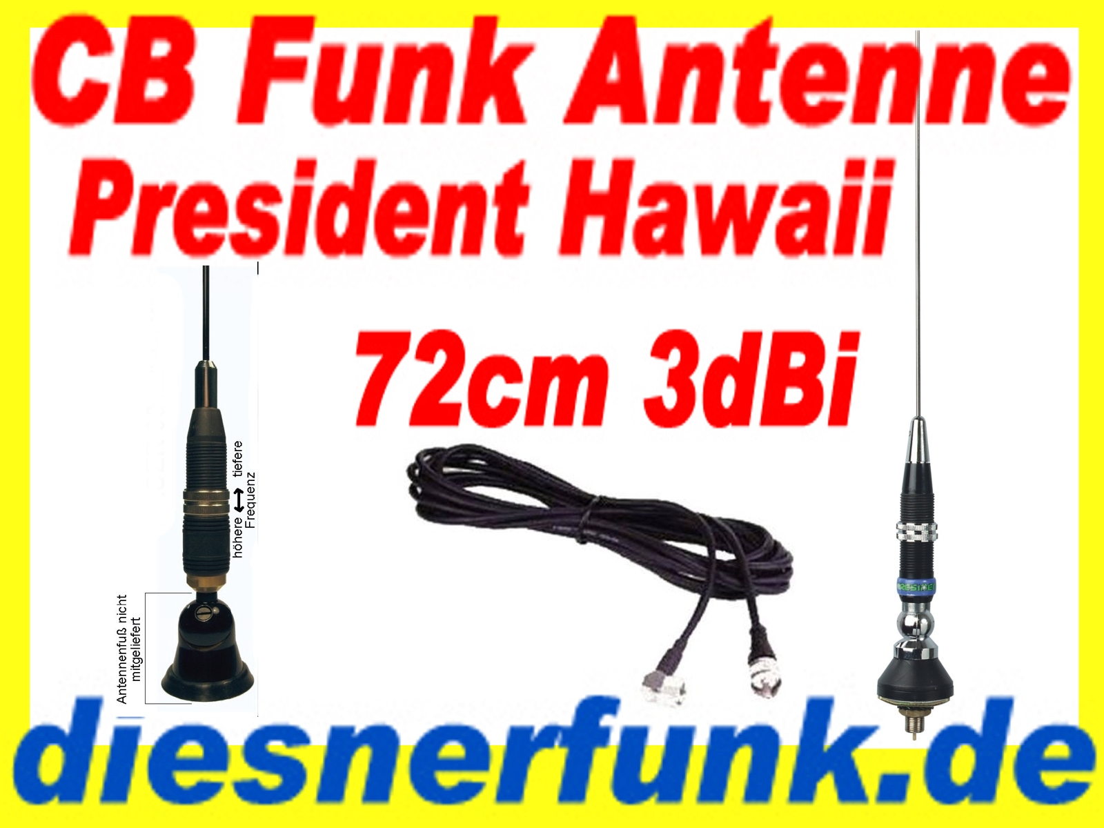 cb funk antenne president hawaii 3dbi 72cm top swr f r lkw actros volvo man tga ebay. Black Bedroom Furniture Sets. Home Design Ideas