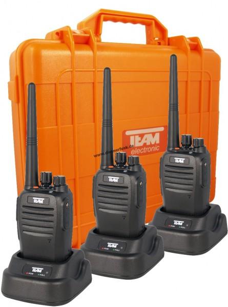 3er Koffer Set Team TeCom-IPDA32 digital UHF Betriebsfunkgerät 4 Watt IP67