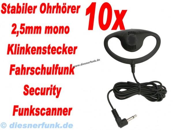 10x Ohrhörer mit stabilem Ohrbügel 2,5 Mono K-Norm