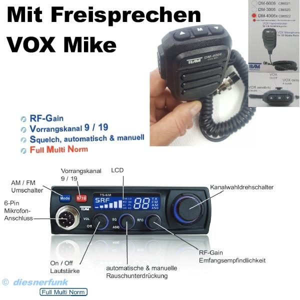 Team TS-6M plus VOX Multi Norm LCD CB Funkgerät