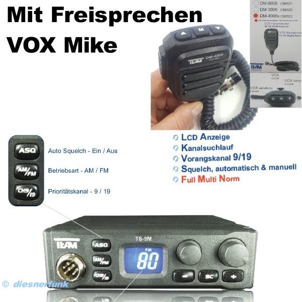 Team TS-9M plus VOX Multinorm CB Funkgerät mit Freisprechen