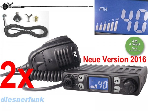 2x Team CB Mobile MiniCom CB Funkgerät im Set mit Albrecht DV27T 55cm Antenne