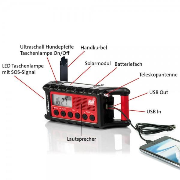 Midland ER300 Outdoor Kurbel-Radio UKW SOS Lampe Solar Powerbank