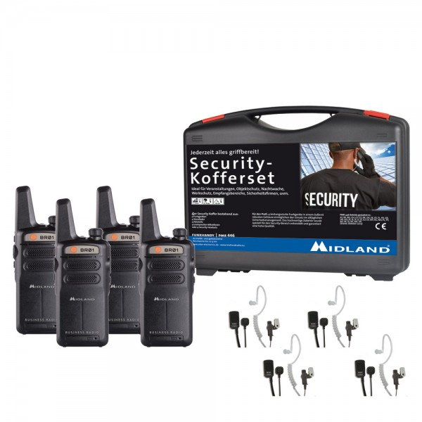 4er Security Kofferset MIDLAND BR01 inkl. AE 32-K Security Headset