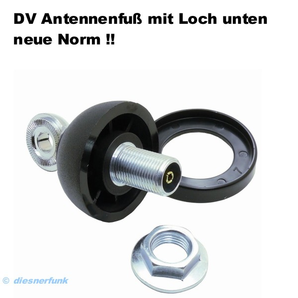 DV Antennenfuß neue Norm mit Loch für DV Antennen