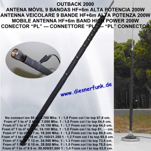 Outback 2000 9 Band KW + 6m Mobilantenne 80 - 6 Meter Band