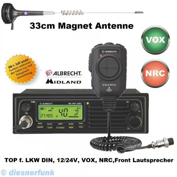 Albrecht AE 6491 NRC inkl VOX Mikrofon CB Funkgerät & 33cm Magnetantenne