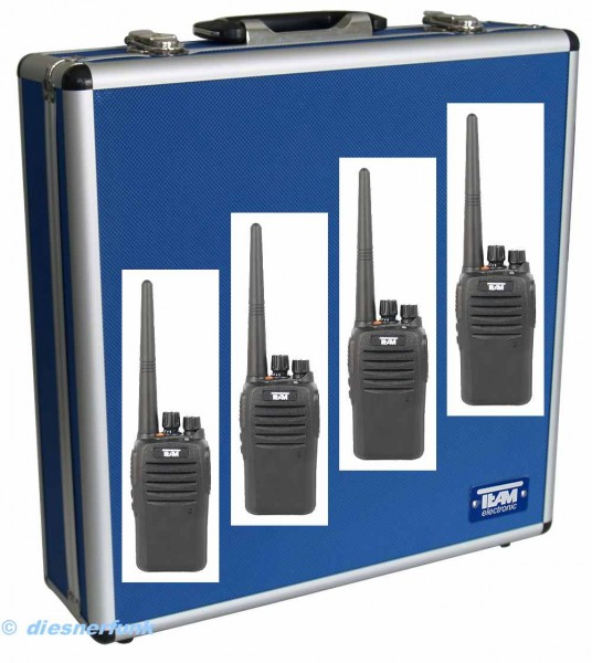 4er Koffer Set Team TeCom IP3 UHF Betriebsfunkgerät IP67 Schutz