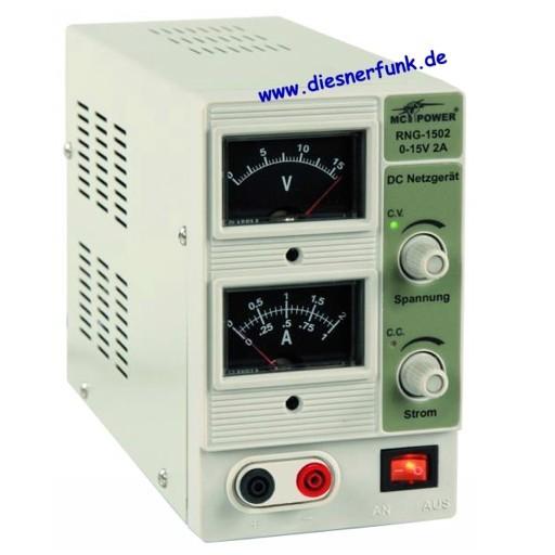 "Labor-Netzgerät McPower ""RNG-1502"" regelbar 0-15V=, 0-2A, 2x Ana"