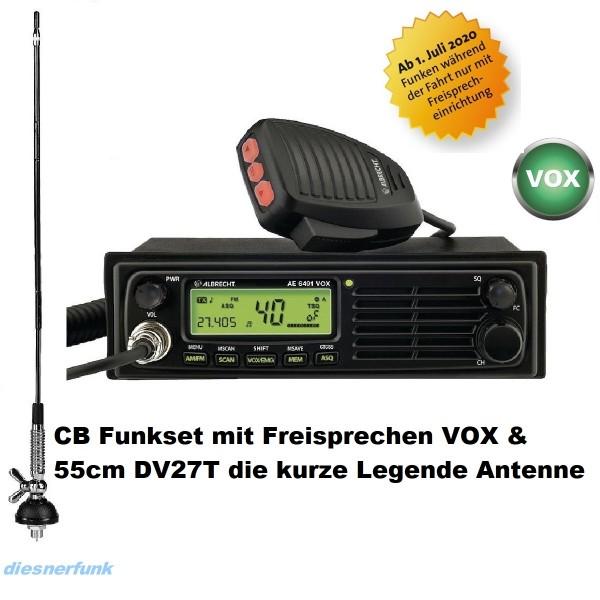 CB FUNK SET ALBRECHT AE 6491 VOX & 55cm DV27 T Antenne