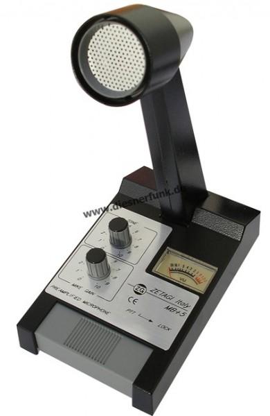 Zetagi MB+5 Standmikrofon mit Verstärker und VU-Meter