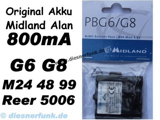 Akkupack Akku Alan Midland G6 G8 M48 M99 Reer 5006