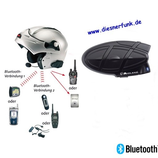 MIDLAND BT2G single Intercom Bluetooth System für Motorradhelme