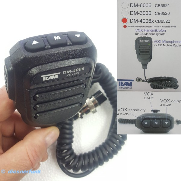 Team VOX Handmikrofon DM-6006 für FX-CBMobile CB Funkgerät
