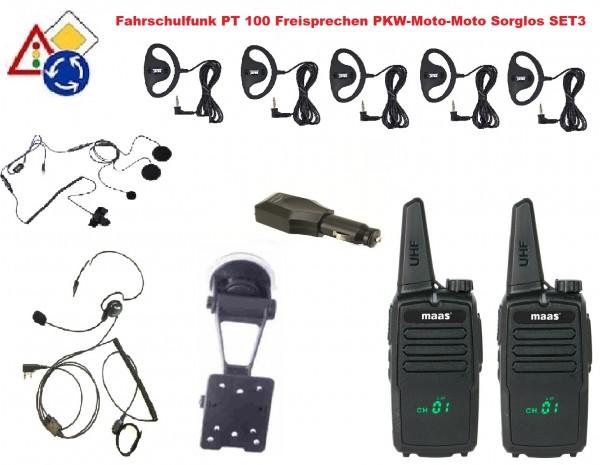Fahrschulfunk Freisprechen MAAS PT-100 Set3 PKW-Motorrad-Motorrad Soglos