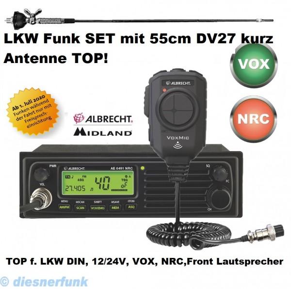 Albrecht AE 6491 NRC inkl VOX Mikrofon CB Funkgerät & 55cm DV27 Kurz Antenne LKW