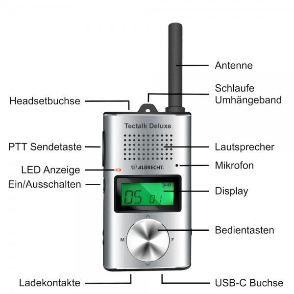 Albrecht Tectalk Deluxe PMR446 Slim Line 16Kanäle USB