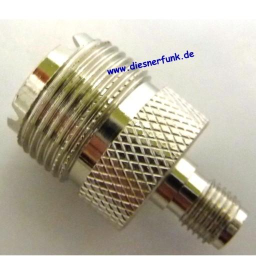 Antennenadapter SMA Reverse Stecker (Loch) auf PL Buchse.
