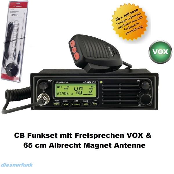 CB FUNK SET ALBRECHT AE 6491 VOX & 65cm Magnet Antenne