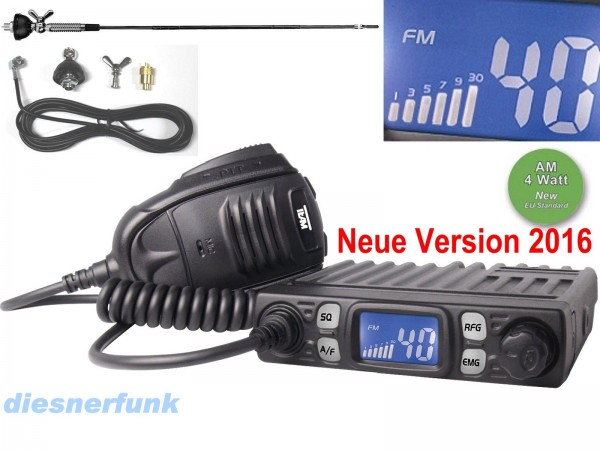 TEAM CB MOBILE MiniCOM V2 micro CB Funk SET 4W AM/FM & DV27 T Antenne Giftzwerg
