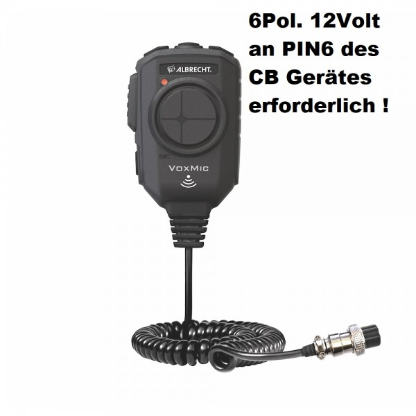 Albrecht VOX Mikrofon 6-polig ANC 12V PIN6 am CB erforderlich