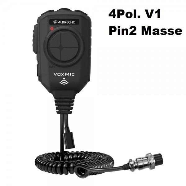 Albrecht VOX Mikrofon 4-polig V1 ANC mit Batterie Pin2 Masse Stabo